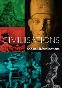 BBC Civilisations branding, colourful background with artefacts from around the world.