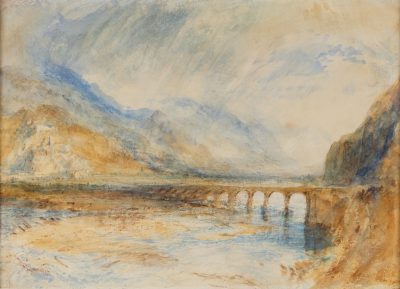 J M W Turners watercolour painting - Bellinzona, The Bridge over Ticino